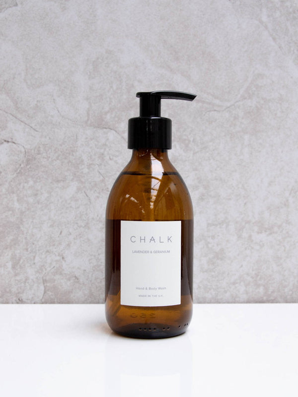 Amber Glass Hand and Body Wash | Lavender and Geranium | Chalk | Made in the UK