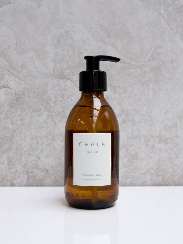 Amber Glass Hand and Body Wash | Lime and Herb | Chalk | Made in the UK