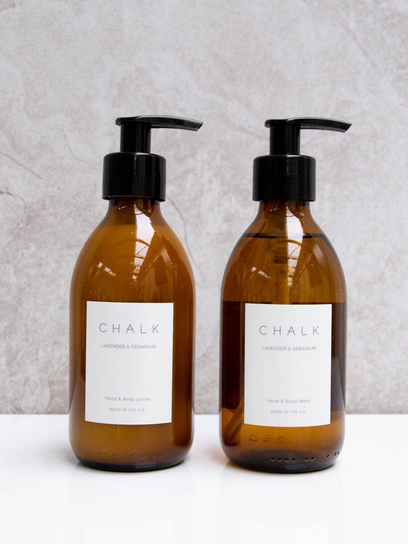 Amber Glass Hand and Body Lotion | Lavender and Geranium | Chalk | Made in the UK