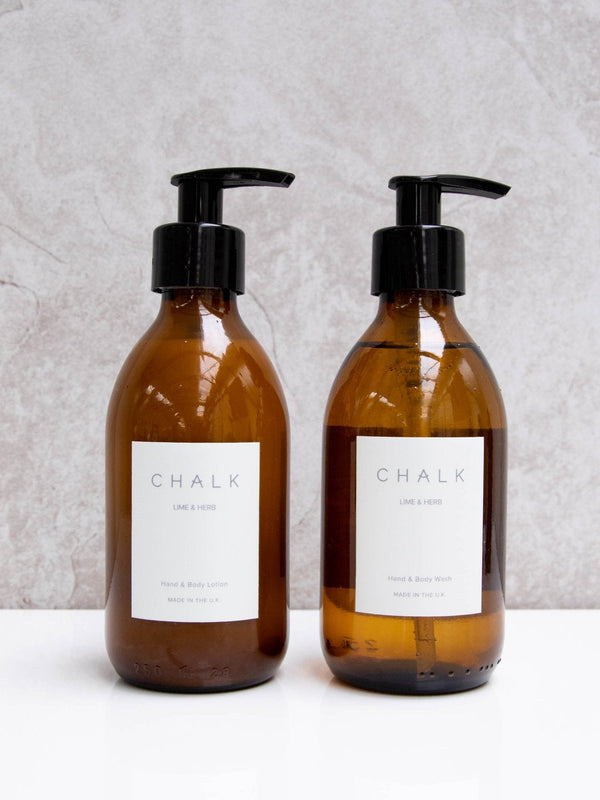 Amber Glass Hand and Body Lotion | Lime & Herb | Chalk | Made in the UK