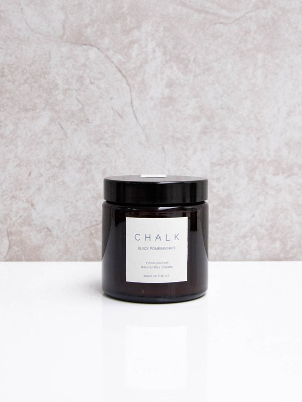 Amber Glass Natural Wax Candle | Black Pomegranate | Chalk | Made in the UK