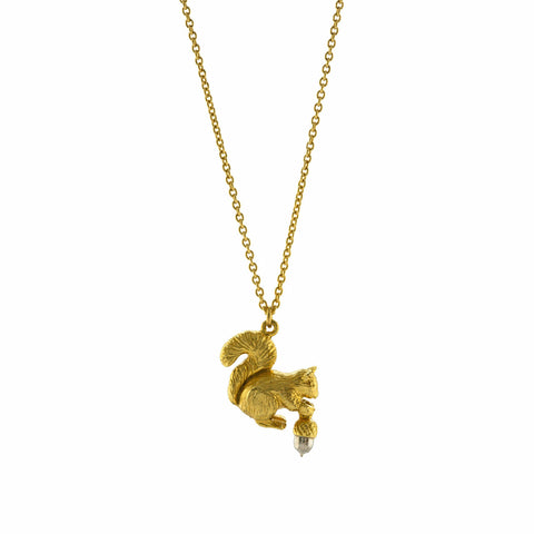 Alex Monroe Squirrel & Acorn Necklace