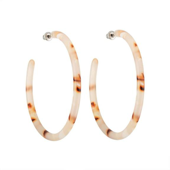 Machete Large Hoop Earrings - Blush Tortoise
