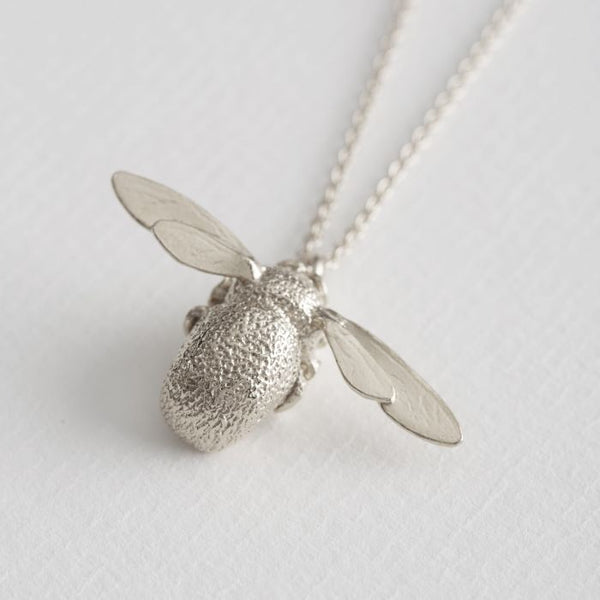 Large Bumblebee Necklace Alex Monroe Silver Plated