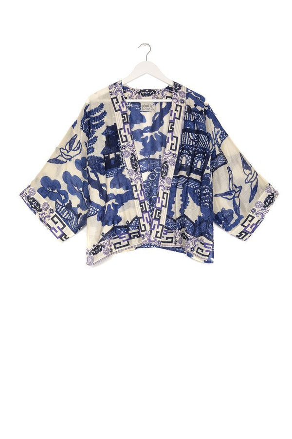 One hundred stars Giant Willow blue and white kimono jacket