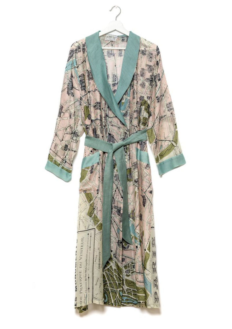 Paris Map Print Dressing Gown One Hundred Stars