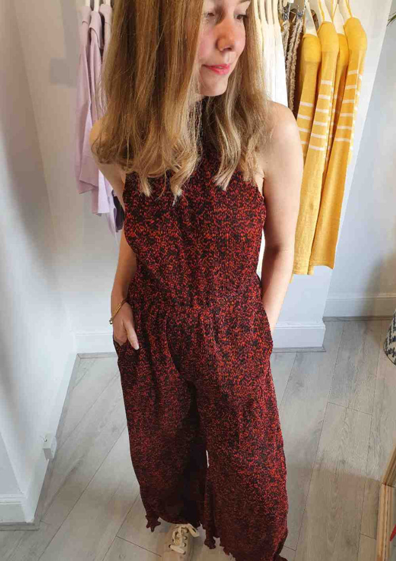 red printed halter neck jumpsuit scotch and soda