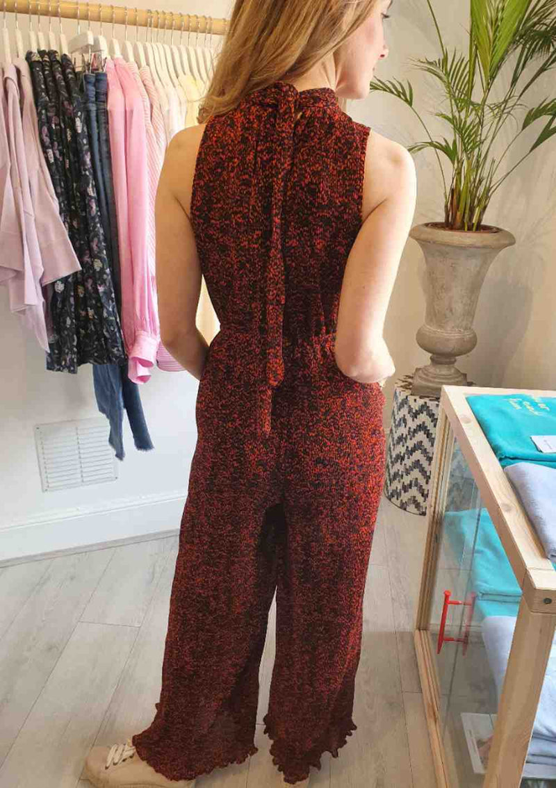 red printed halterneck jumpsuit scotch and soda back