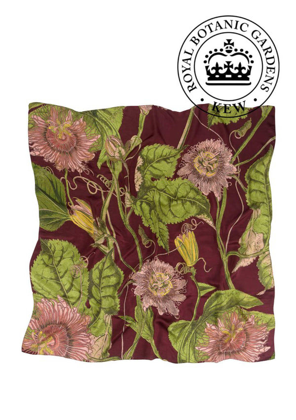 Kew Passion Flower Silk Square Scarf