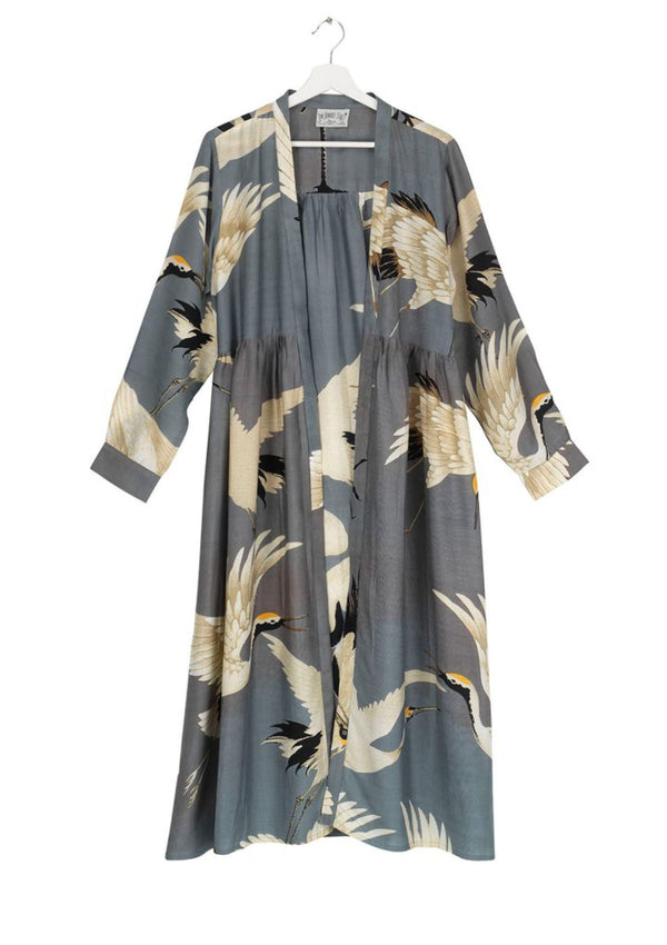 One Hundred Stars Printed Stork Slate Duster Coat