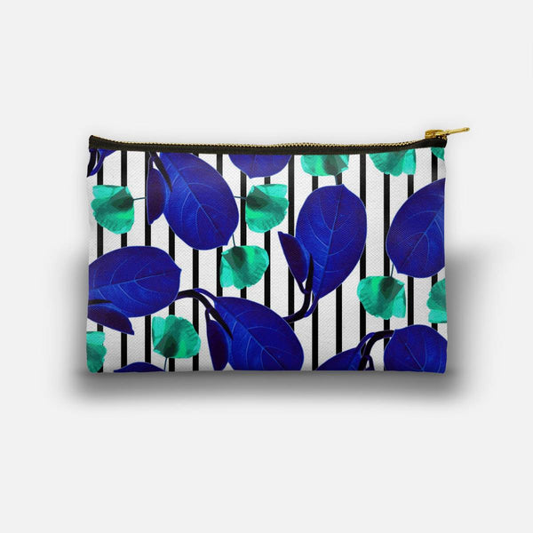 Blue Leaves + Aqua Poppies Studio Pouch