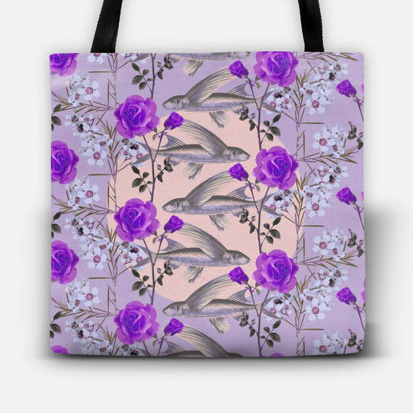 Floral Fishies (Purple) Tote Bag