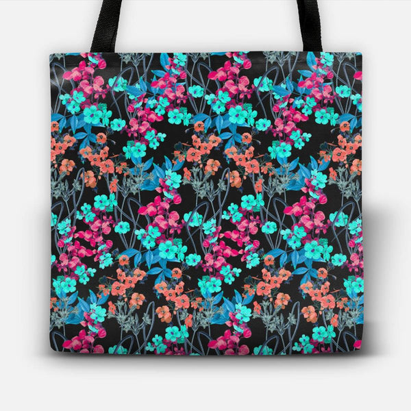 Flower Power (Black) Tote Bag