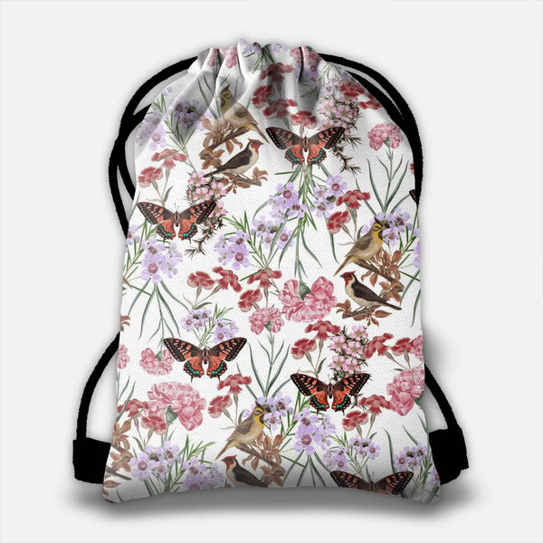 Floral Fantasy (Red) Drawstring Bag