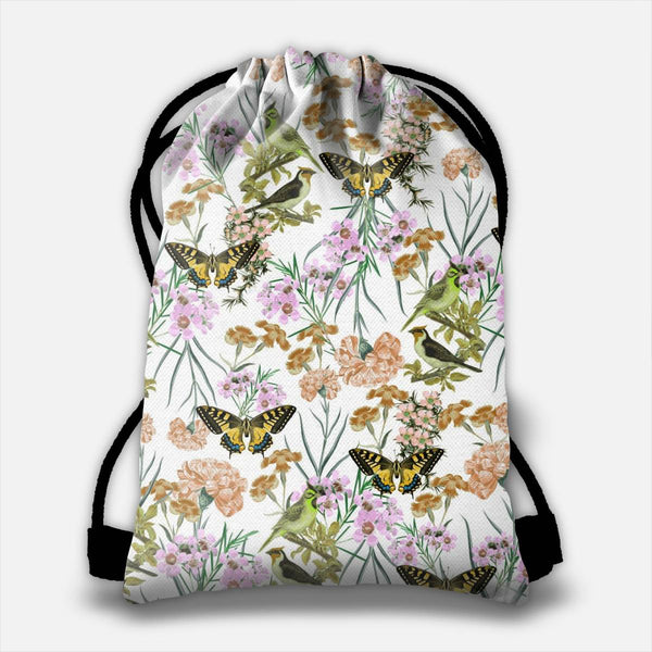 Floral Fantasy (Yellow) Drawstring Bag
