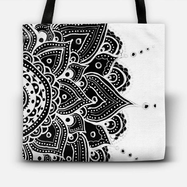Black Mandala Tote Bag