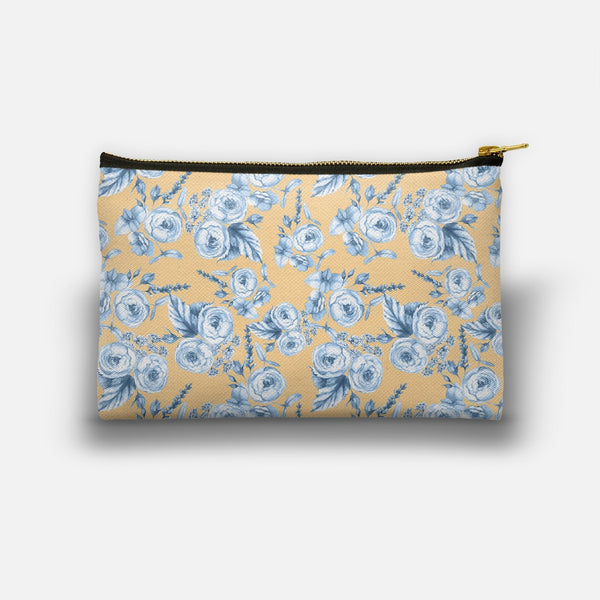 Blue Floral Dance on Yellow Background designed by Anastasia Nio