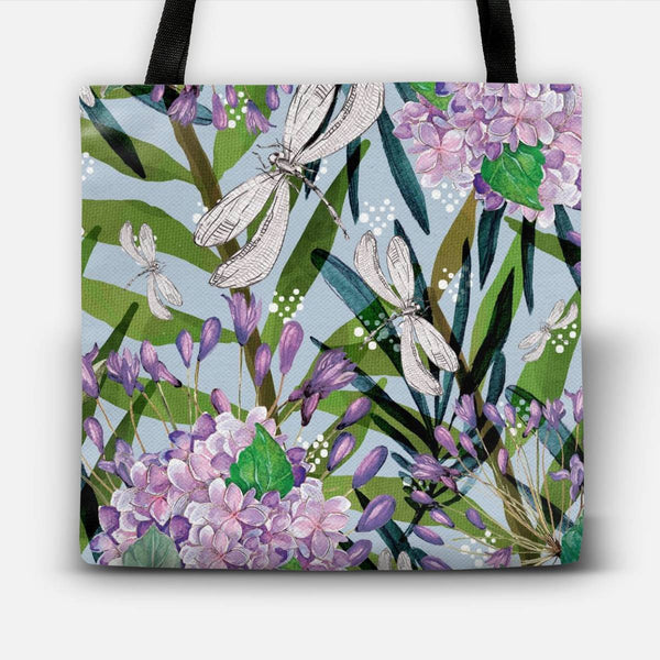 Floral collage and dragonflies Tote Bag