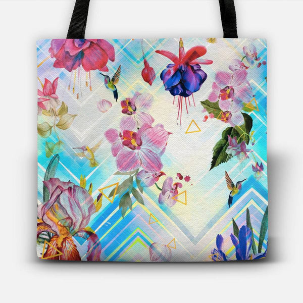 Tropical flowers and geometric pattern Tote Bag
