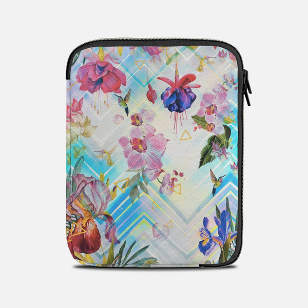 Tropical flowers and geometric pattern Tablet Sleeves
