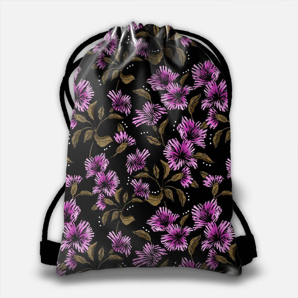 Flowery illustration in the dark Drawstring Bag