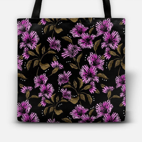 Flowery illustration in the dark Tote Bag
