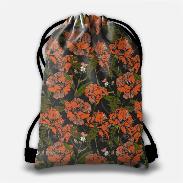 Autumnal flowering of poppies Drawstring Bag