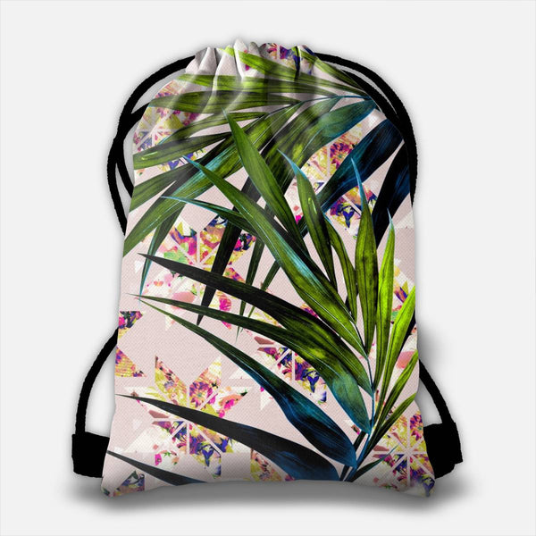 Leaves on mosaic Drawstring Bag
