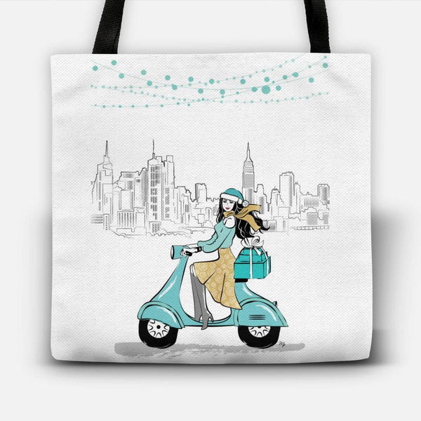 Winter Girl on Vespa in the City Tote Bag