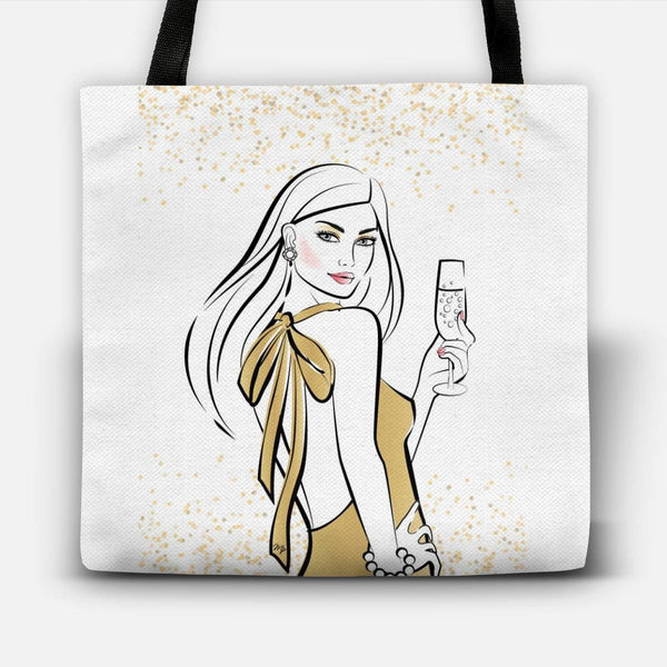 Celebration Champagne Girl Tote Bag