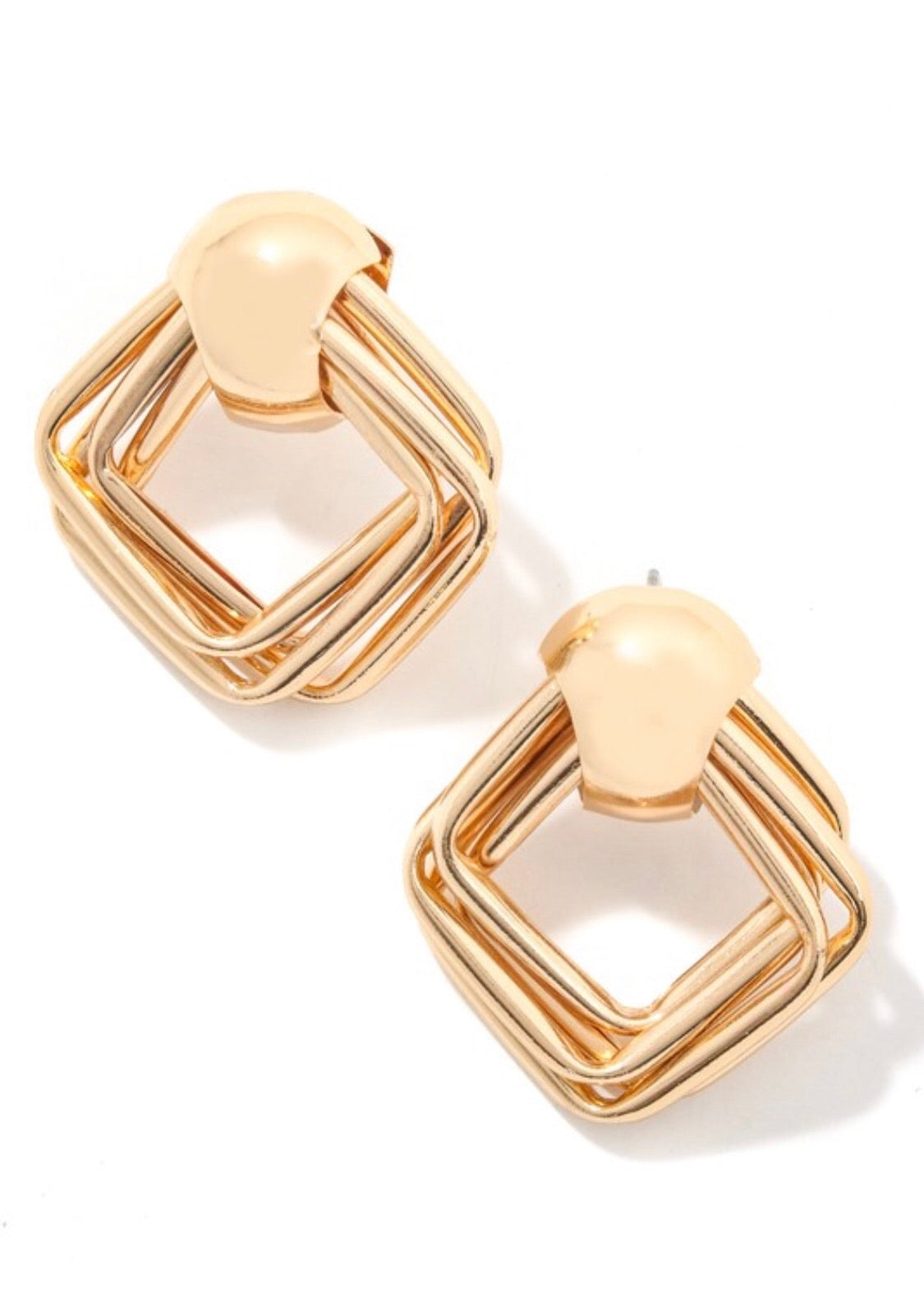 Arianne Square Charm Earrings- Gold