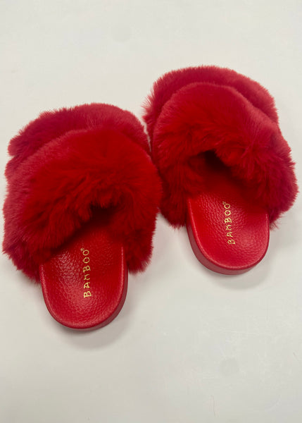 Love Me Not Furry Slippers - Red