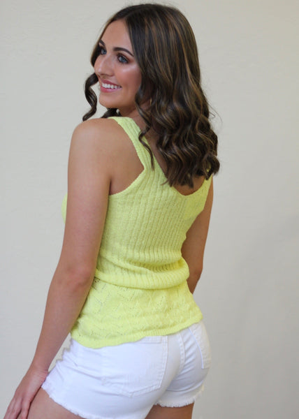 Adore You Knit Tank - Lime