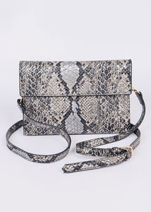 Snakeskin Mini Clutch - Black
