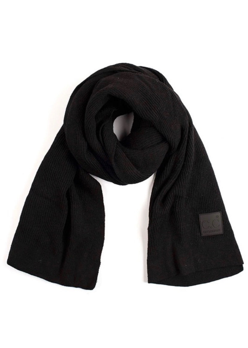 CC Exclusive Ribbed Knit Scarf - Black