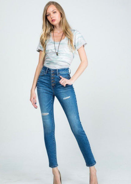 Remi High Rise Button Fly Skinny Denim