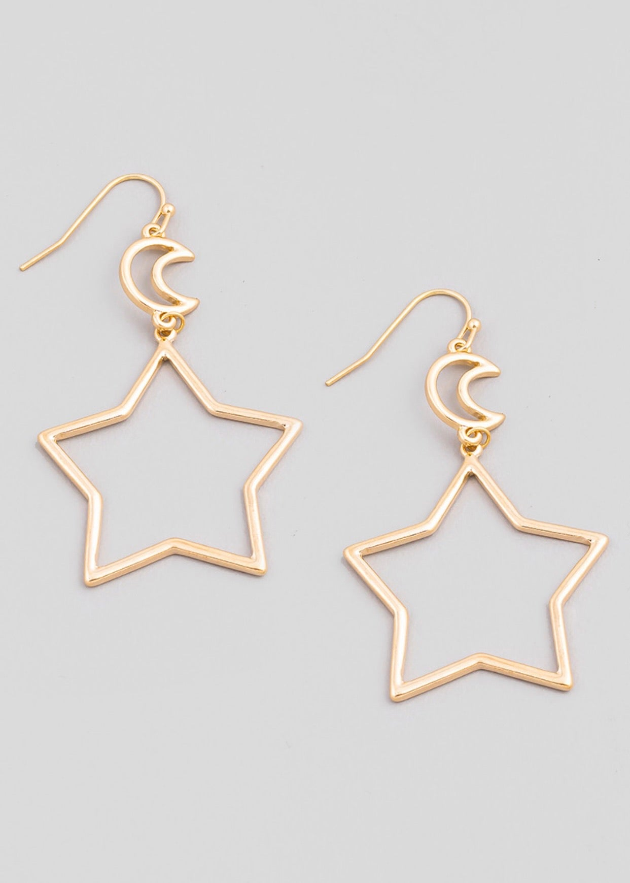 Star and Moon Earrings-Gold