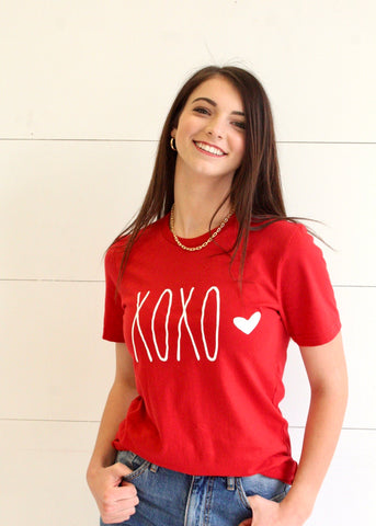 XoXo White Ink Heart Graphic Tee