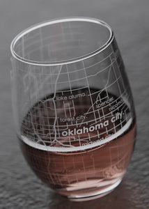 Oklahoma City Map Stemless Wine Glass
