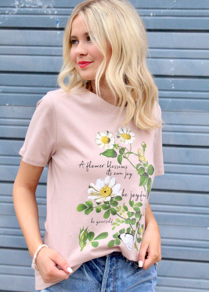 Floral Light Wash Graphic Tee
