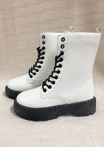 Lindsey Combat Boot - White
