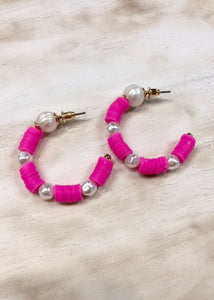 Disc and Pearl Hoop - Pink