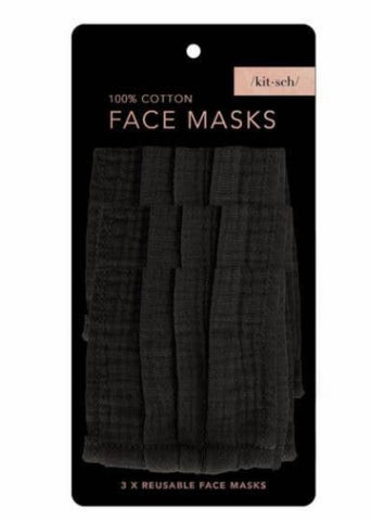 Cotton Mask 3 pc. Set - Black