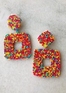 Candy Crush Beaded Earrings - Square