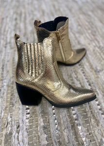 Yvanna Gold Pointed Toe Metallic Booties
