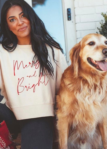 Merry & Bright Cropped Corded Sweatshirt
