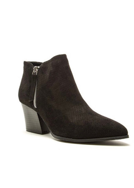 Take Note Black Suede Bootie