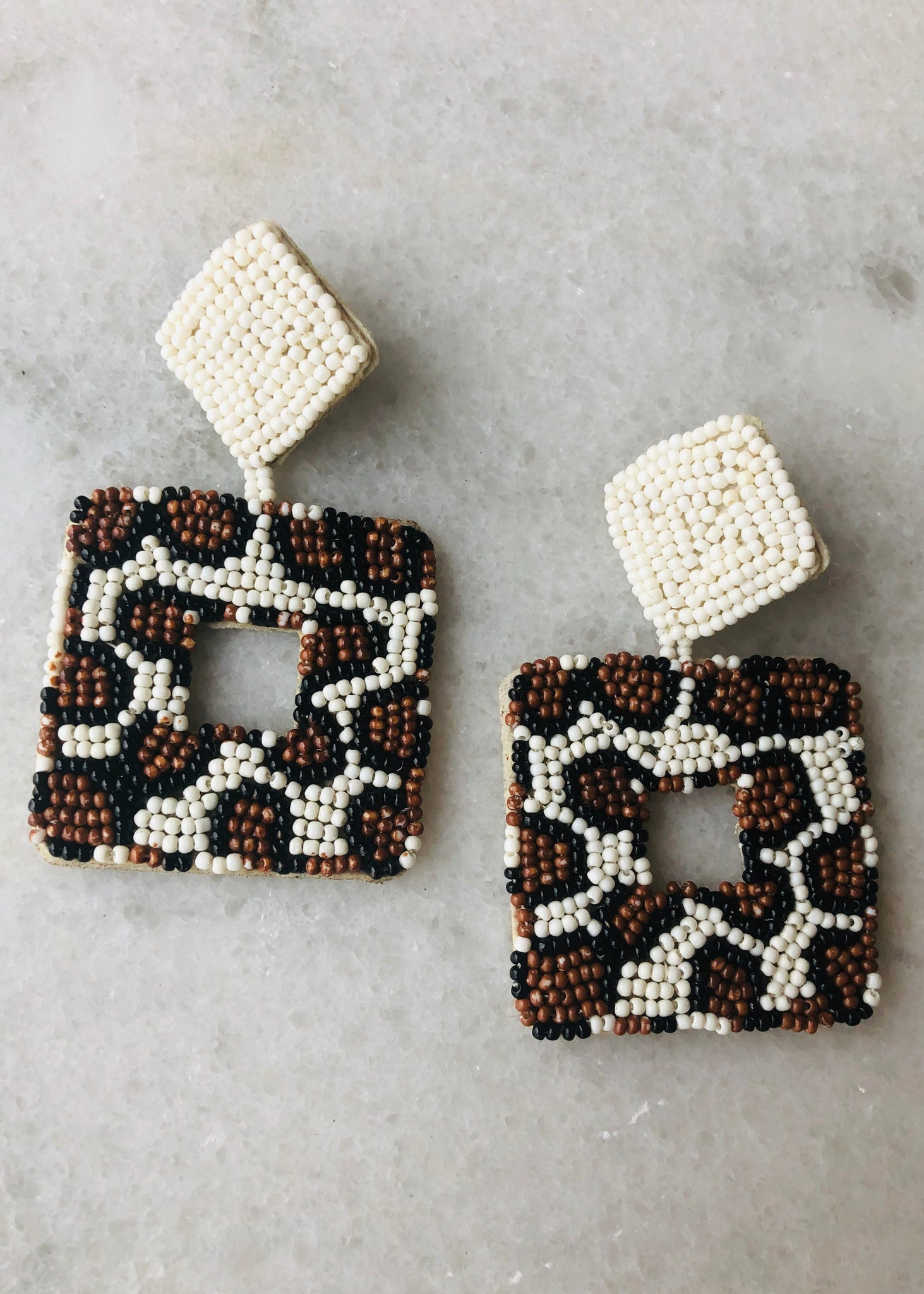 Leopard Beaded Earrings - Square
