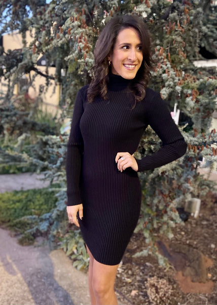 Once In A Lifetime Sweater Dress - Black