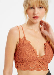 Carter Crochet Lace Bralette - Terracotta